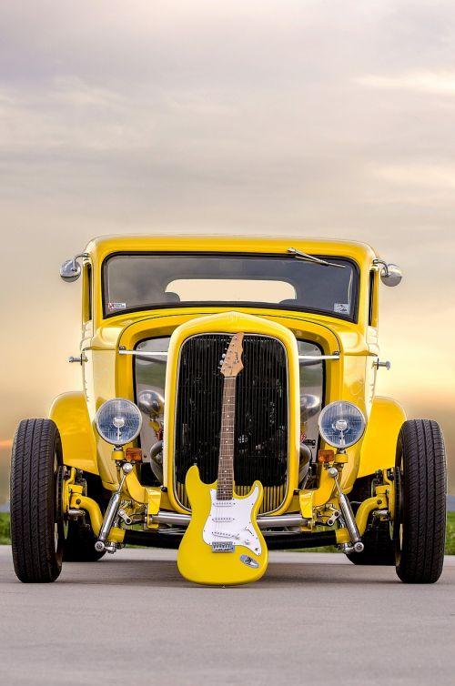 classic car electric guitar muscle car