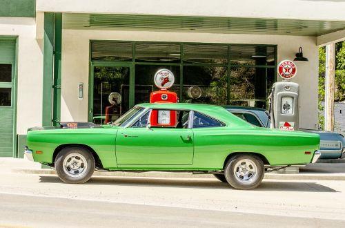 classic car antique gas pump green