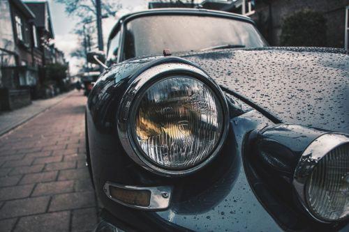 classic car headlight detail