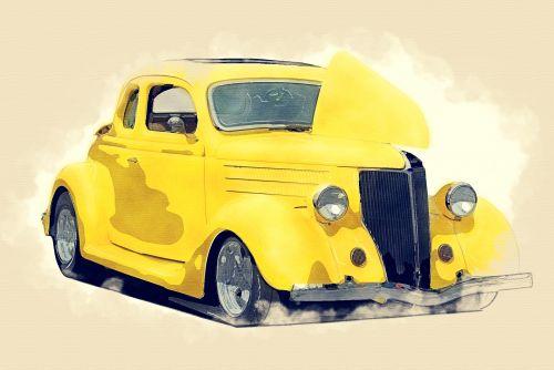 Classic Hot Rod Car Watercolor