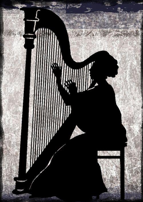 classical harp silhouette