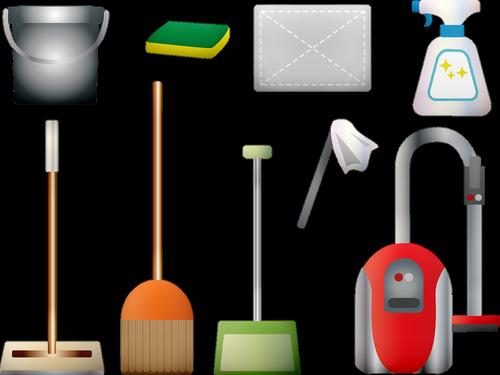 cleaning supplies  vacuum  broom
