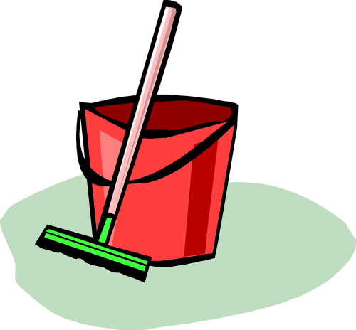 cleaning up broom bucket