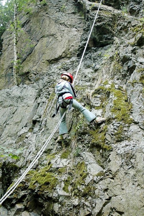 climb abseil steep