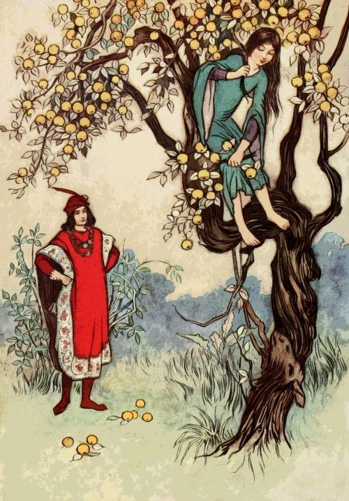 Iliustracijos, clip & nbsp, menas, grafika, iliustracija, warwick & nbsp, goble, iliustratorius, vintage, retro, menas, Senovinis, elegantiškas, fėja, istorija, istorijos, pasakos, pasaka, vaikai, žmonės, princas, princesė, medis, lipti, lauke, poilsis, meilė, romantika, obuoliai, augalai, lipti medžiu