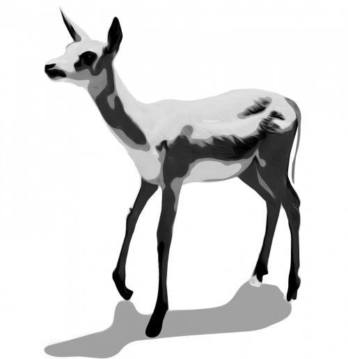 clip & nbsp, menas, gyvūnas, elnias, juoda, balta, pilka, žvilgsnis, clip art deer