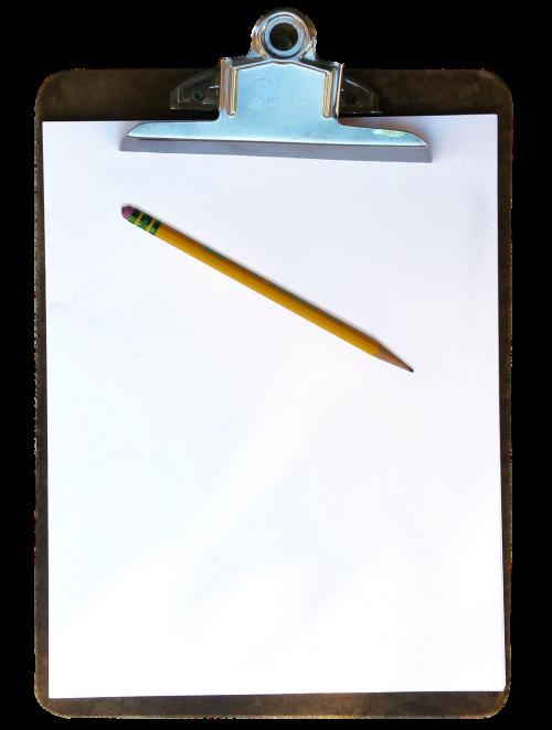 clipboard pencil paper