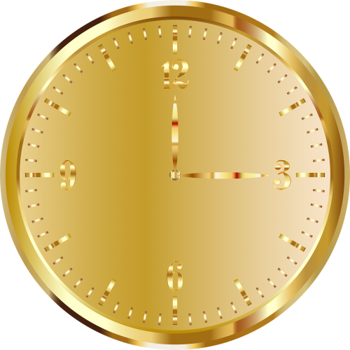 clock golden time indicating