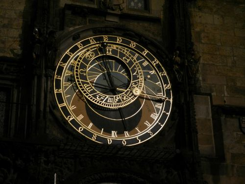 clock night prague