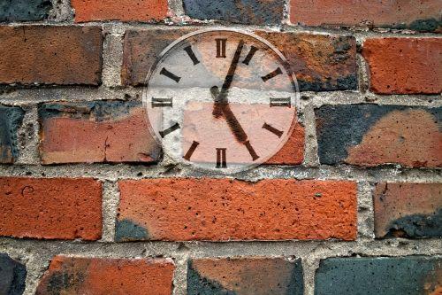 clock wall brick wall