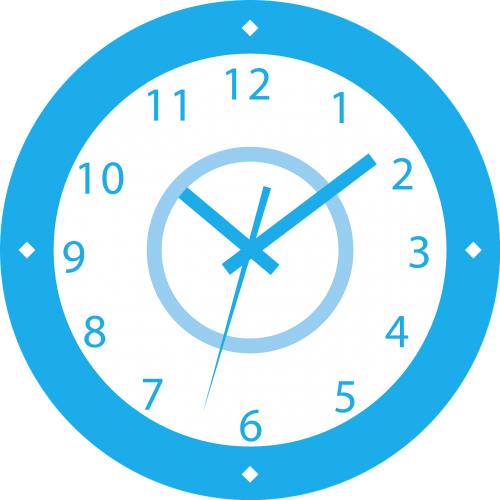 clock blue white