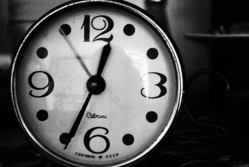 clock black and white time