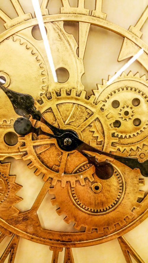 laikrodis, darbai, mechanizmas, Uždaryti, auksas, laikrodžio mechanizmas