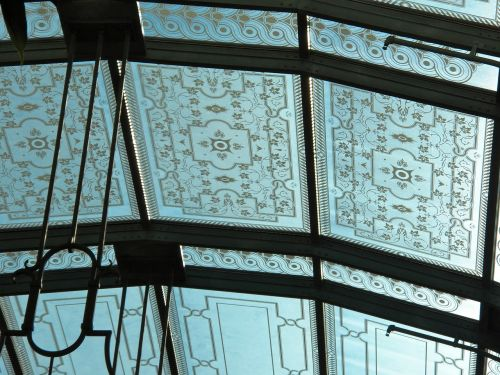 close up ceiling stain glass ceiling ornate roof