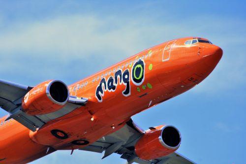 Close Up Of Mango B-737 Jet