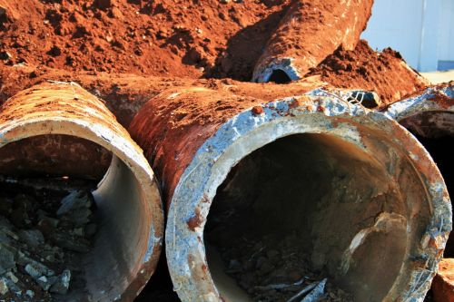 Close Up Of Unearthed Pipes