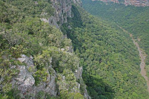 upė, Gorge, kanjonas, giliai, pusės, uolos, akmenys, žalias, augmenija, oribi & nbsp, gorge, kwazulu & nbsp, natal, arti uolų ir augmenijos