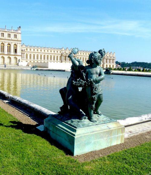 closed versaille castle park figure
