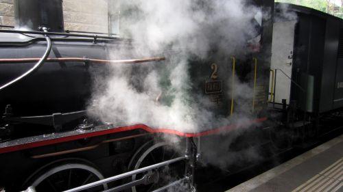closeup steam engine locomotive