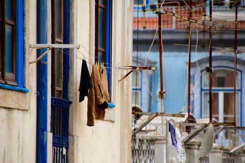clothes line laundry blue