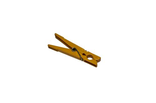 clothes peg isolated yellow