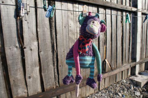 clothespins linen monkey