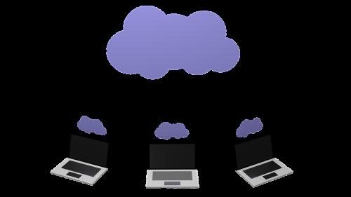 cloud computing lap tops sky