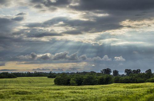 clouds green beautiful landscape
