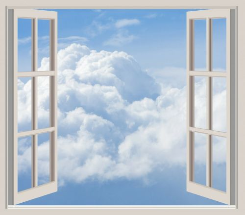 clouds window frame