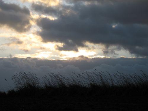 clouds grass landscape