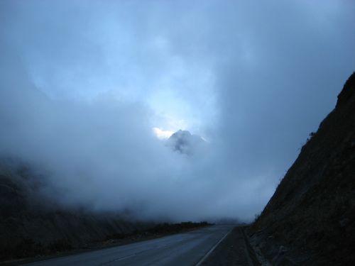 clouds mountain pass fog