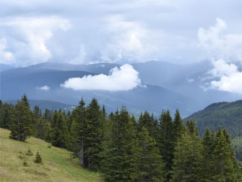 clouds mountains forest
