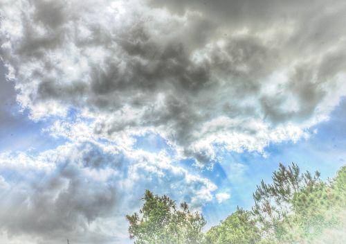 clouds sunbeams white