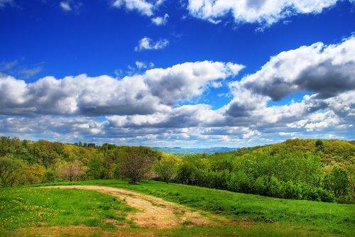 clouds  bluff  landscape