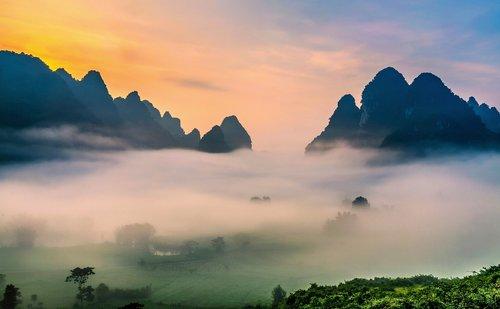 clouds  vietnam landscape  dawn
