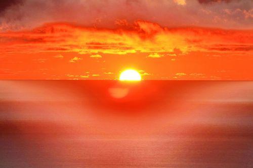 clouds sunset sea
