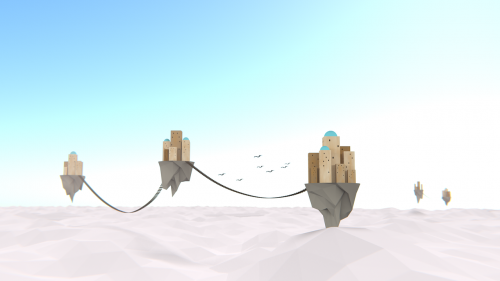 clouds low poly flying islands