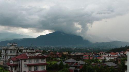 debesis, debesys, kalnas, kalnas, katmandu, Nepalas, laukas, miestas, perėjimas, lietus, saulė ir nbsp, spinduliai, debesys virš katmandu