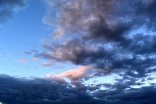 dangus, debesis, Debesuota, saulėlydis, mėlynas, oranžinė, erdvė, dangus, debesys danguje