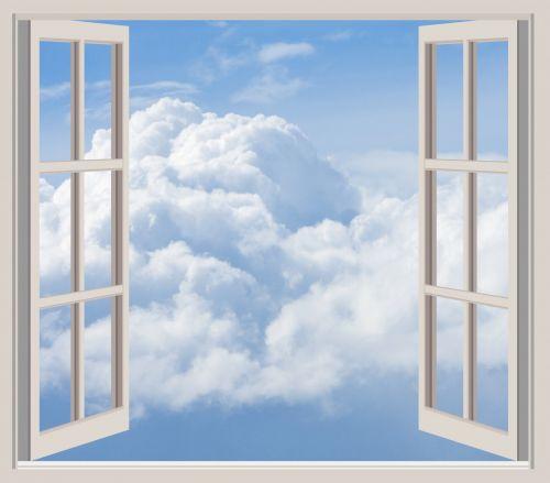 Clouds Through Window Frame