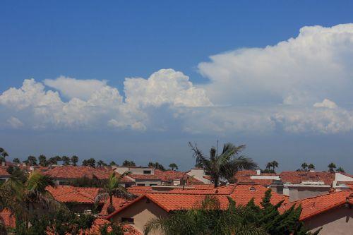 debesys, dangus, cumulus, gamta, mėlynas, Kalifornija, raudona, molis, debesis virš raudonų čerpių stogų