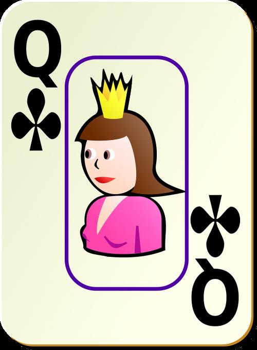 clubs queen card
