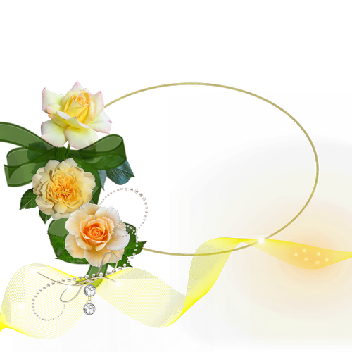 cluster  whitish yellow roses  bow