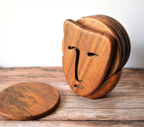 coaster face wooden coaster omar handmade