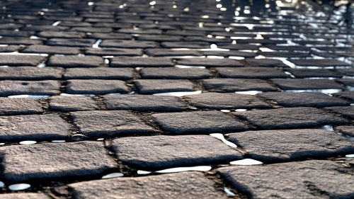 cobblestone street vintage