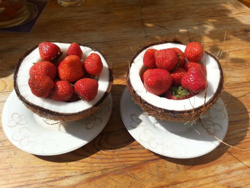 coconut strawberries coconuts