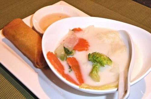 coconut thai soup vegetable spring roll savory
