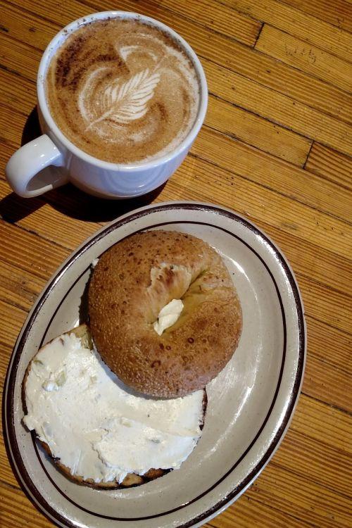coffee bagel cream cheese