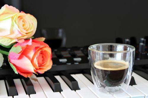 coffee keyboard roses