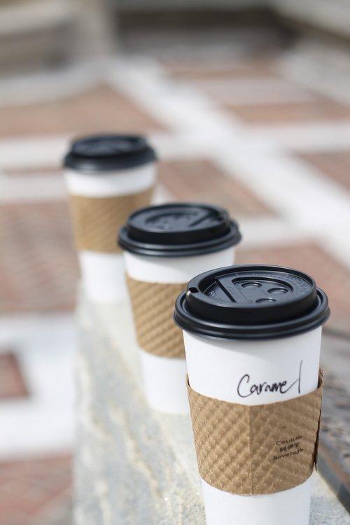 coffee  three  coffee cups
